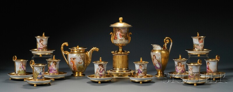 Partial Nast Paris Porcelain Tea Service