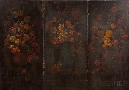 Victorian Painted Three-part Folding Floor Screen