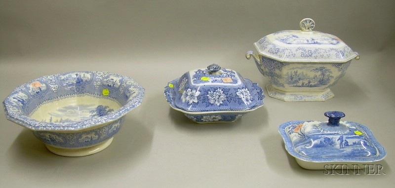 Four Pieces of English Blue and White Transfer Decorated Staffordshire Tableware