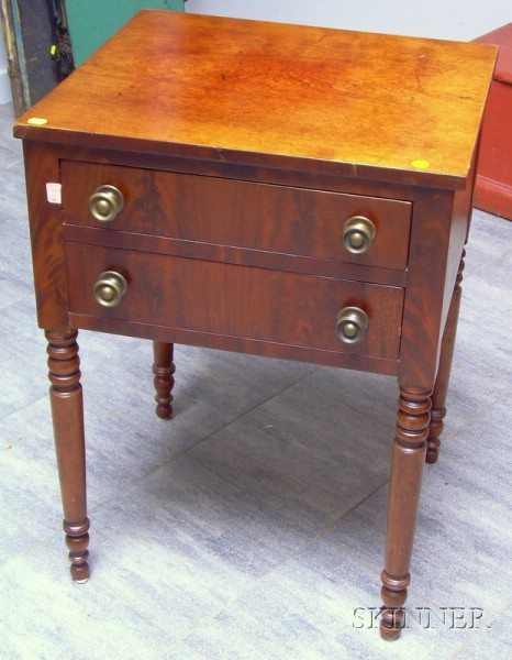 Late Federal Mahogany and Mahogany Veneer Two-Drawer Work Table.
