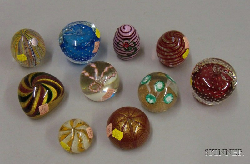 Ten Internally Decorated Paperweights