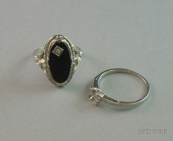 Art Deco White Gold and Onyx Ring and an Art Deco Iridium Platinum and Diamond   Setting.      Estimate $200-300