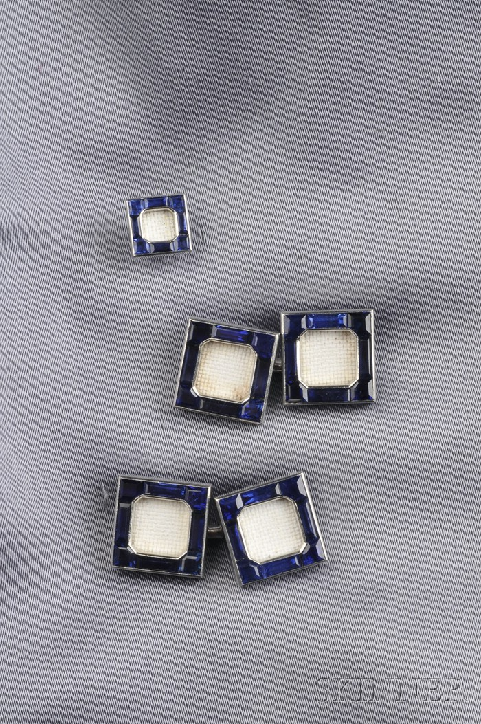 Platinum and Sapphire Cuff Link Mounts and Tie Tack, Cartier, Paris