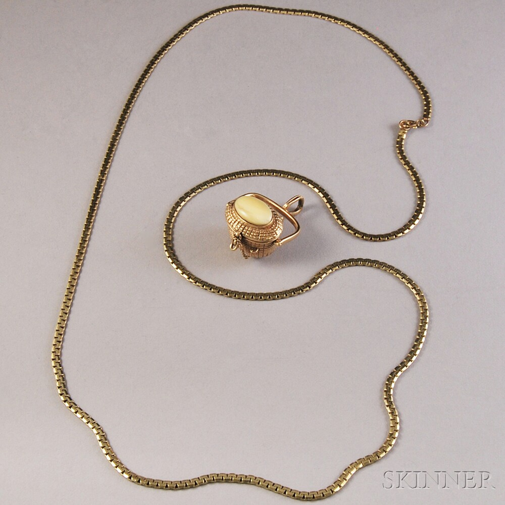 14kt Gold Chain Necklace and Hardstone-set Nantucket Basket Charm