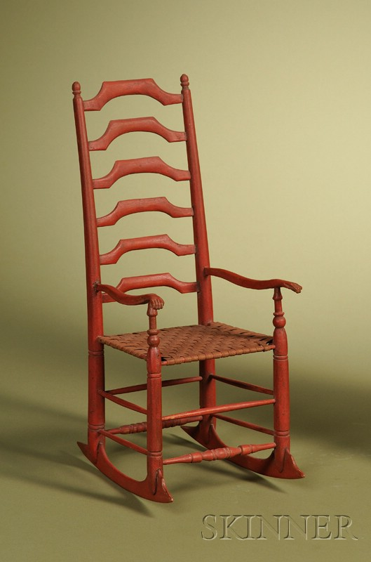 American Red Painted and Carved Miniature Ladder-back Rocking Chair