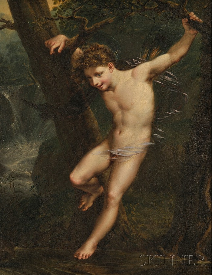 French School, 19th Century      Allegorical Portrait of a Winged Boy in a Woodland Setting