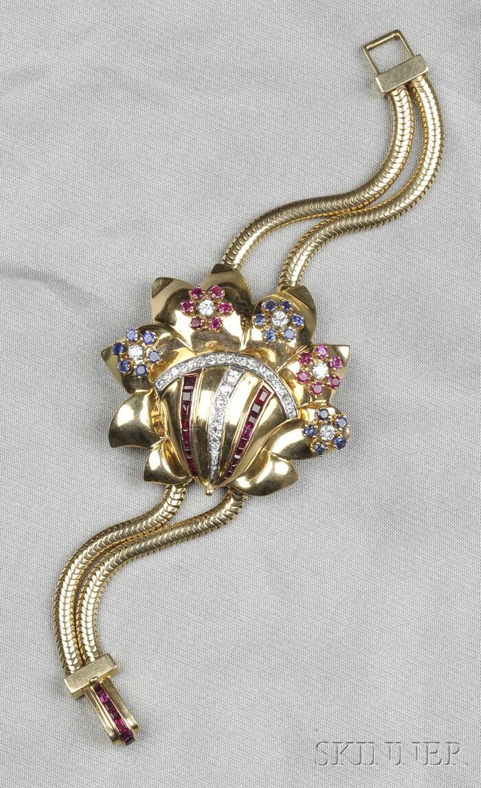 Retro 14kt Gold Gem-set Wristwatch
