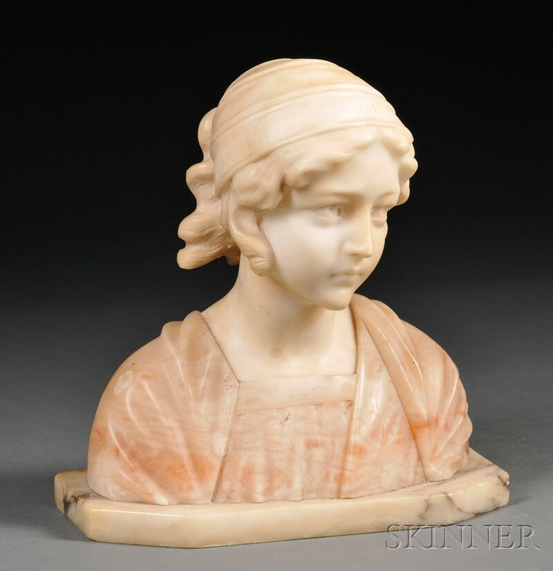 Alabaster and Marble Female Bust