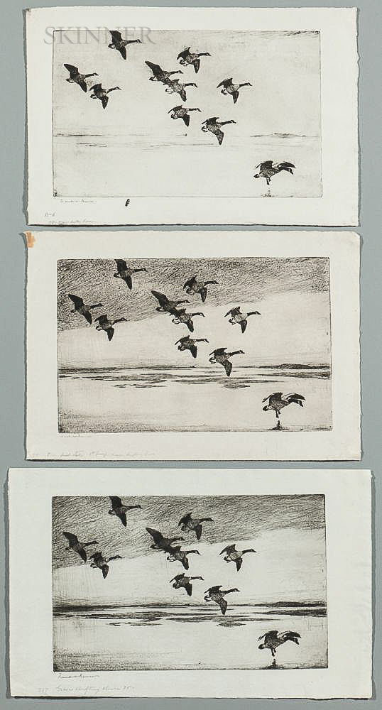 Frank Weston Benson (American, 1862-1951)      Three Different States of Geese Drifting Down