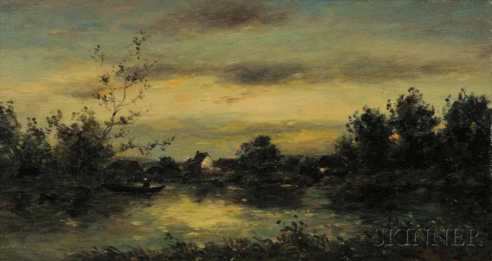 Attributed to Karl Daubigny (French, 1846-1886)      Landscape at Dusk