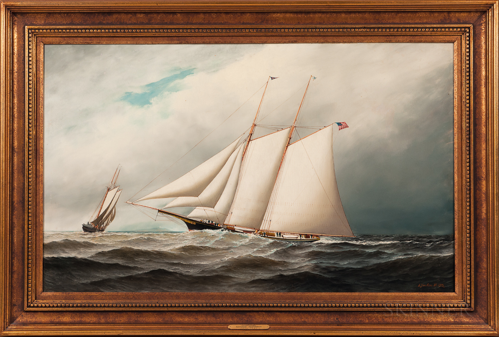 Antonio Nicolo Gasparo Jacobsen (Danish/American, 1850-1921)      The Schooner Yacht Dreadnaught