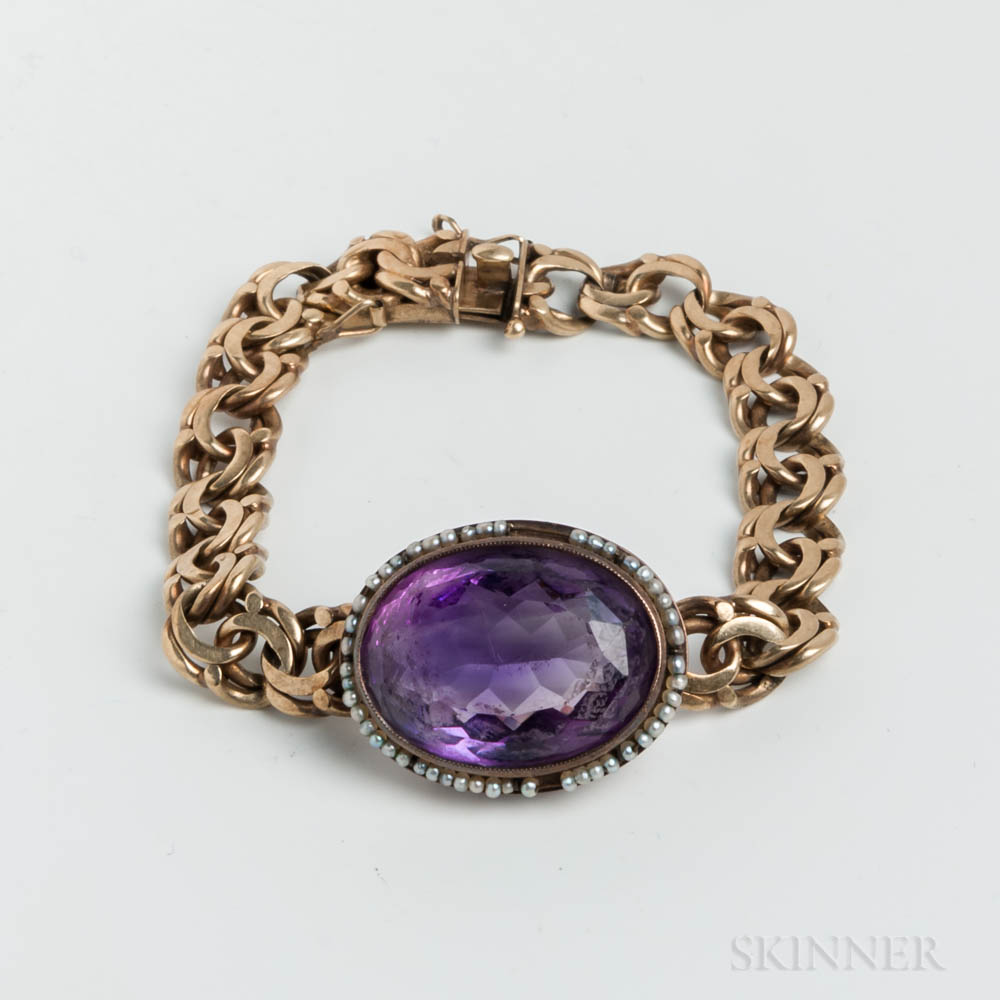 14kt Gold, Amethyst, and Seed Pearl Bracelet