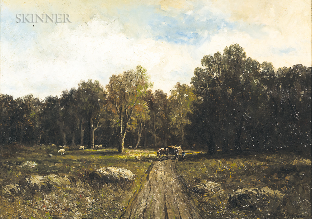 Wesley Elbridge Webber (American, 1841-1914)      Country Road with Horse Cart