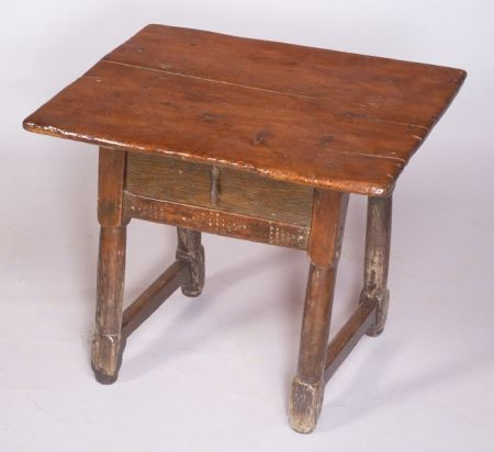 Continental Pine and Beechwood Rustic Side Table