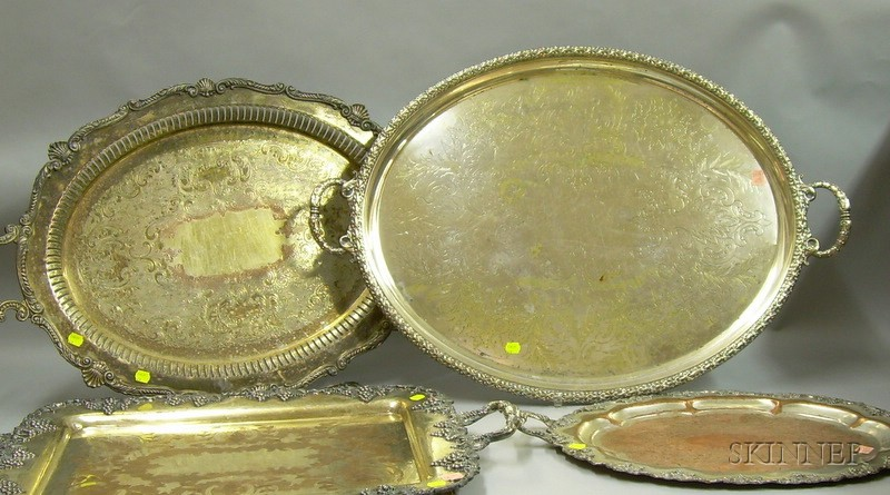 Four Silver Plated Serving Trays