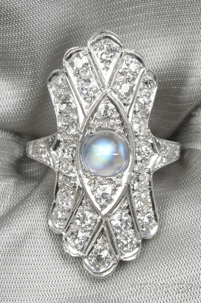 Platinum, Moonstone, and Diamond Ring