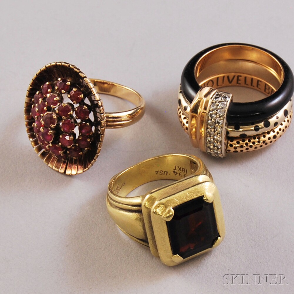 Three Gold and Gemstone Rings