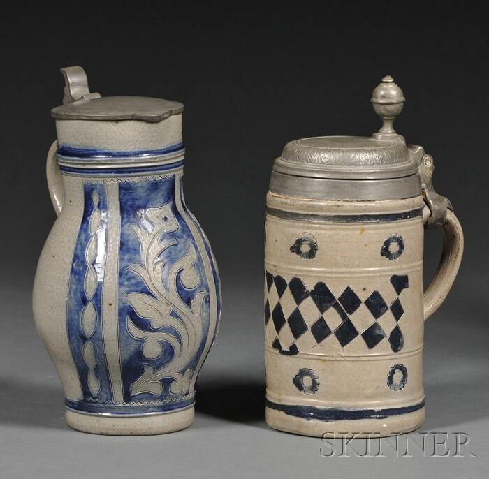 Two Westerwald-type Cobalt Blue Decorated Stoneware Tankards