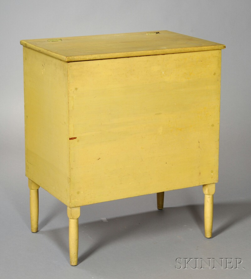 Shaker Pine and Maple Chrome Yellow-painted Storage Bin