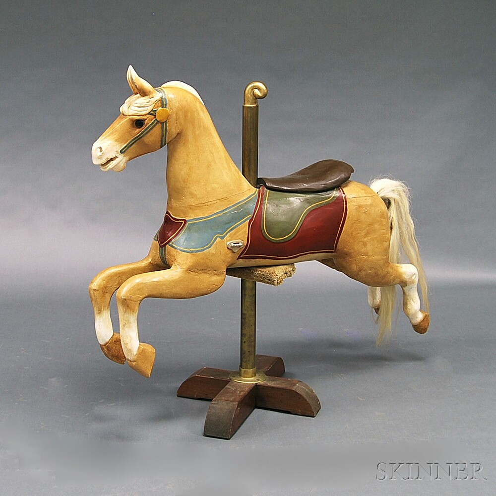 Carved and Painted Jumping Carousel Horse and Stand