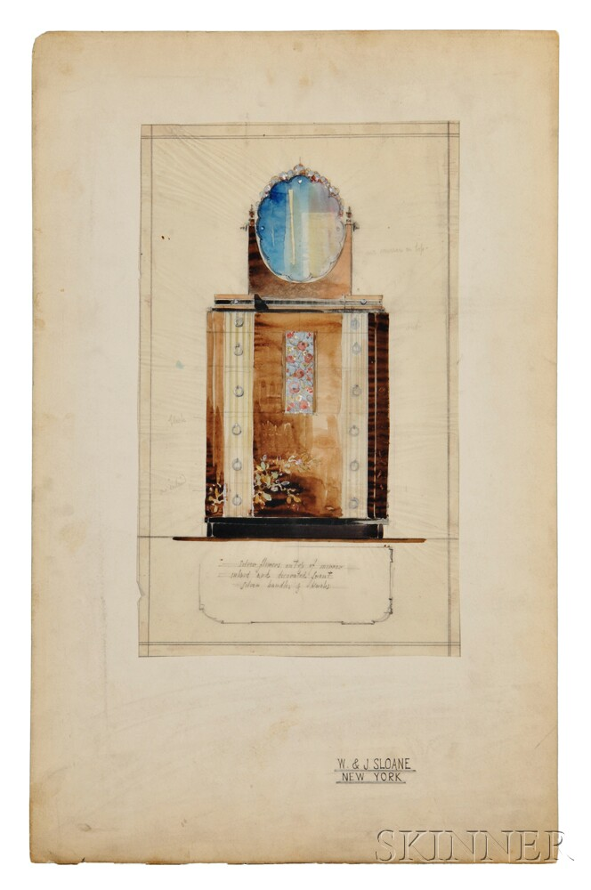 Five art deco architectural drawings for w j sloane for Art deco architectural details