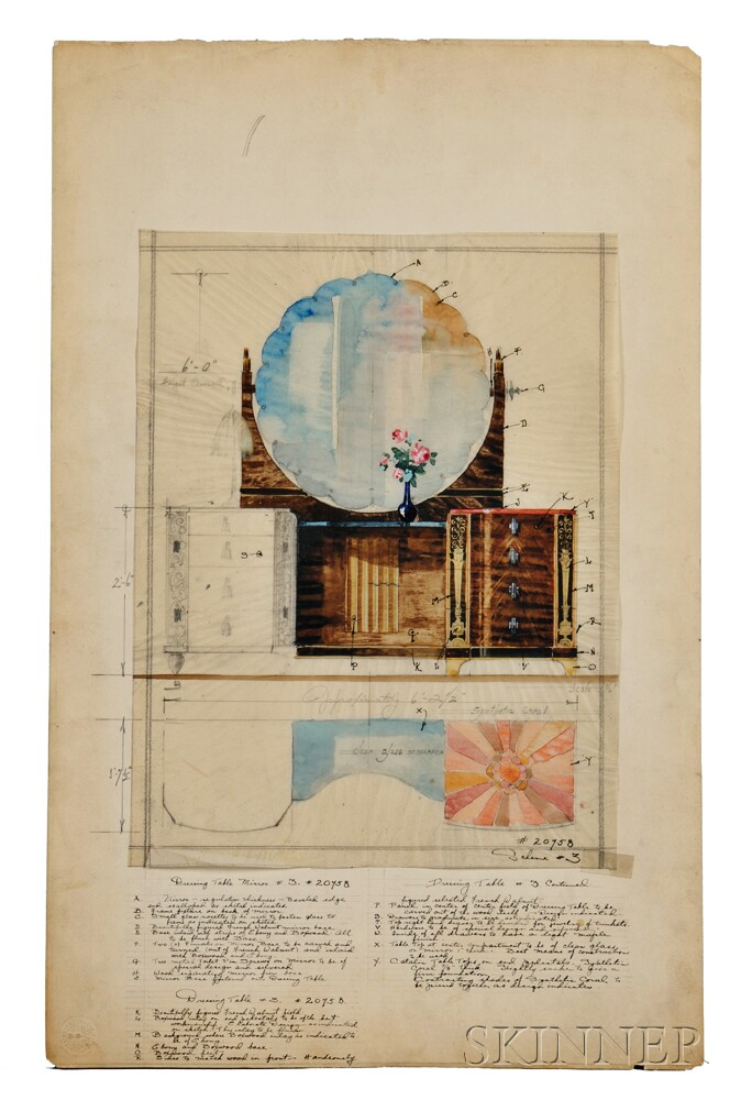 Five art deco architectural drawings for w j sloane for Architectural drawings for sale