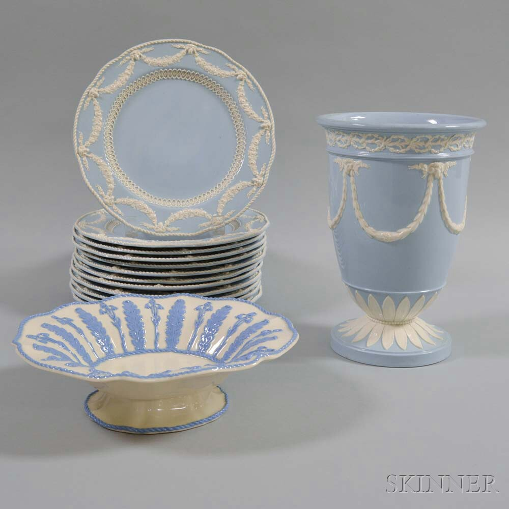 Fourteen Pieces of Wedgwood Embossed Queen's Ware