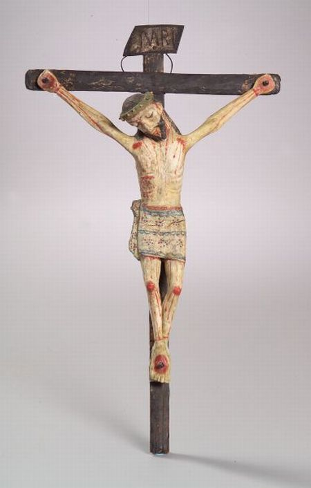 Southwest Polychrome Carved Wood Crucifix Figure