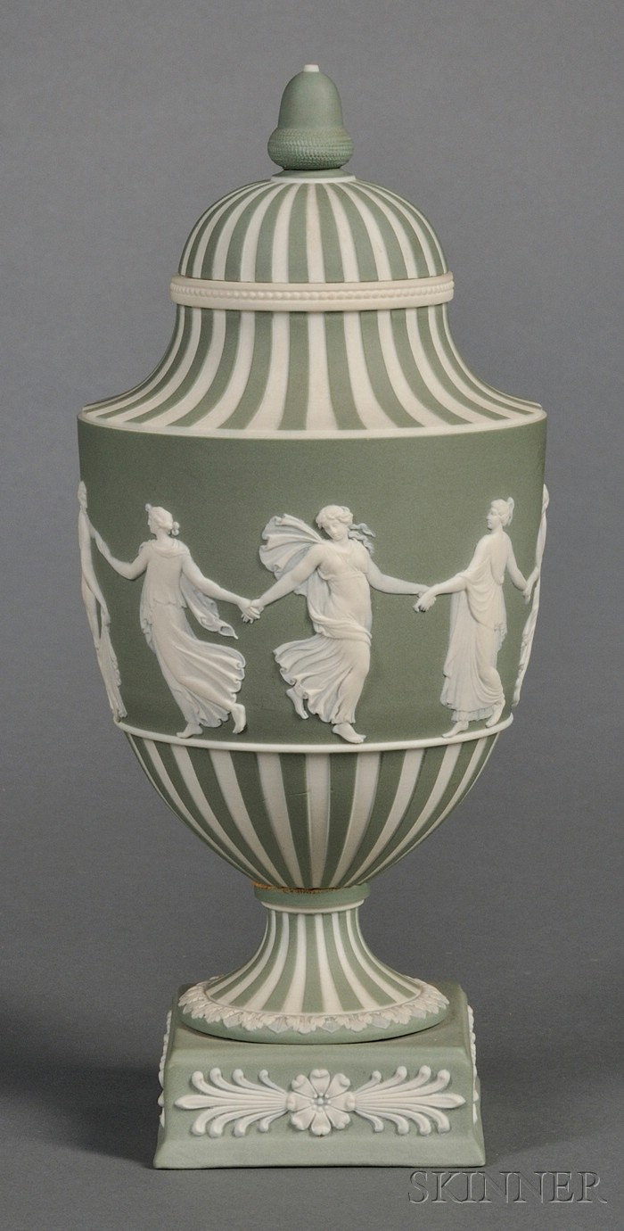 Wedgwood Green Jasper Dip Dancing Hours Vase and Cover