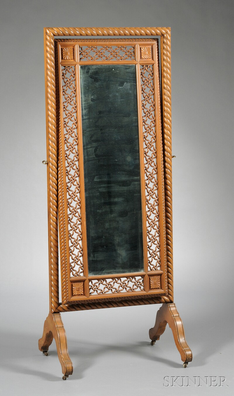 Late Victorian Cheval Mirror Attributed to Merklen Bros.