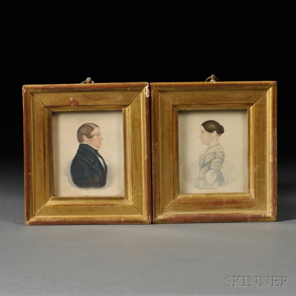 James Sanford Ellsworth (American, 1802/03-1874)      Pair of Portrait Miniatures of a Boy and a Girl