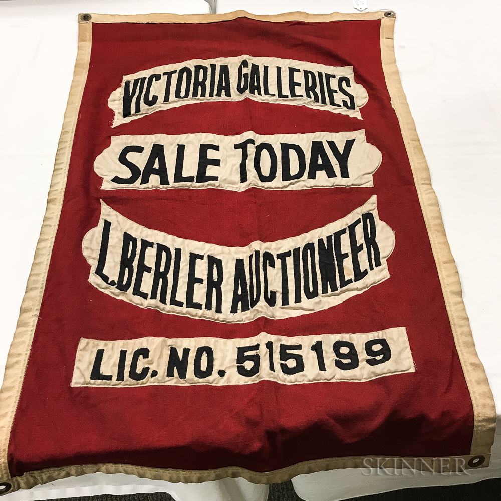 """Victoria Galleries"" Auctioneer's Flag"