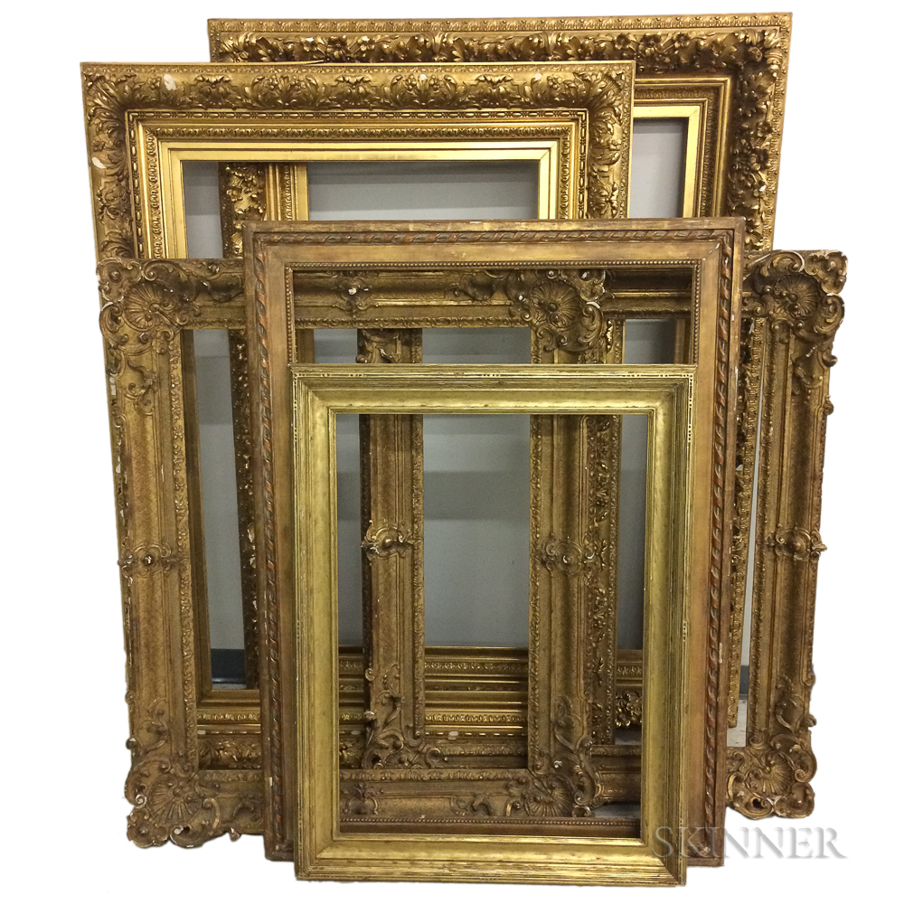 Six Large Carved and Gilt Frames