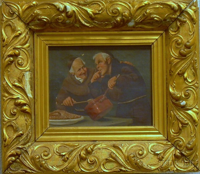 Framed Oil on Canvas Scene with Monks in the Kitchen