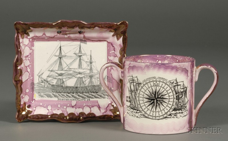 Dixon Pink Lustre and Transfer Northumberland 74 Sailing Ship Decorated Plaque and an English The Mariners ...