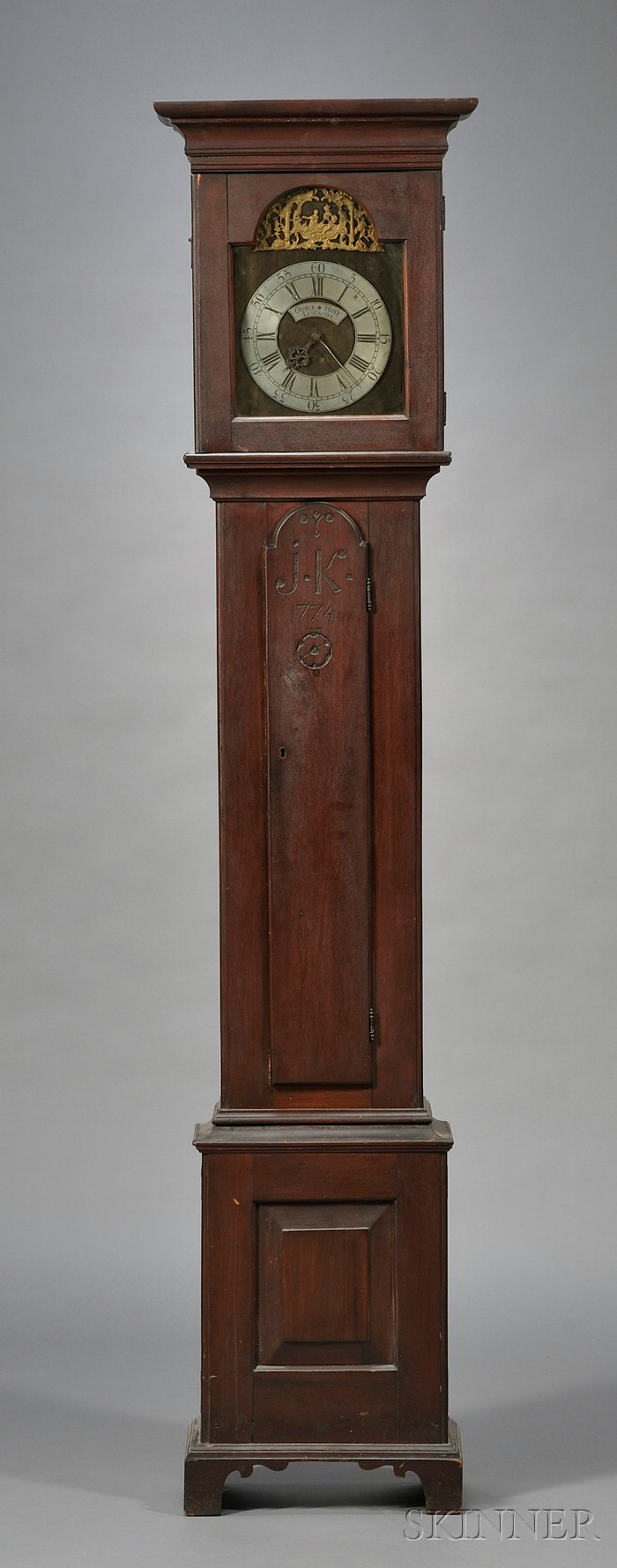 Walnut Carved Tall Case Clock
