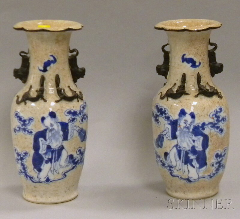 Pair of Chinese Export Blue and White-decorated Crackle Glazed Porcelain Vases