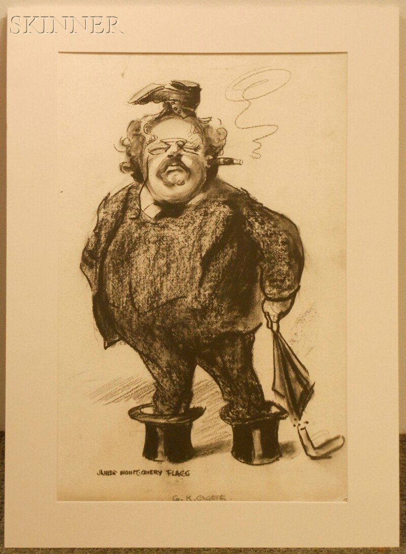 James Montgomery Flagg (American, 1877-1960)      G.K. Chesterton, A Caricature