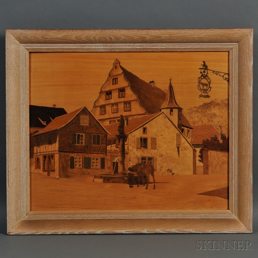 Paul Spindler (French, 1907-1980)       Marquetry Panel Depicting the Village of Blaesheim