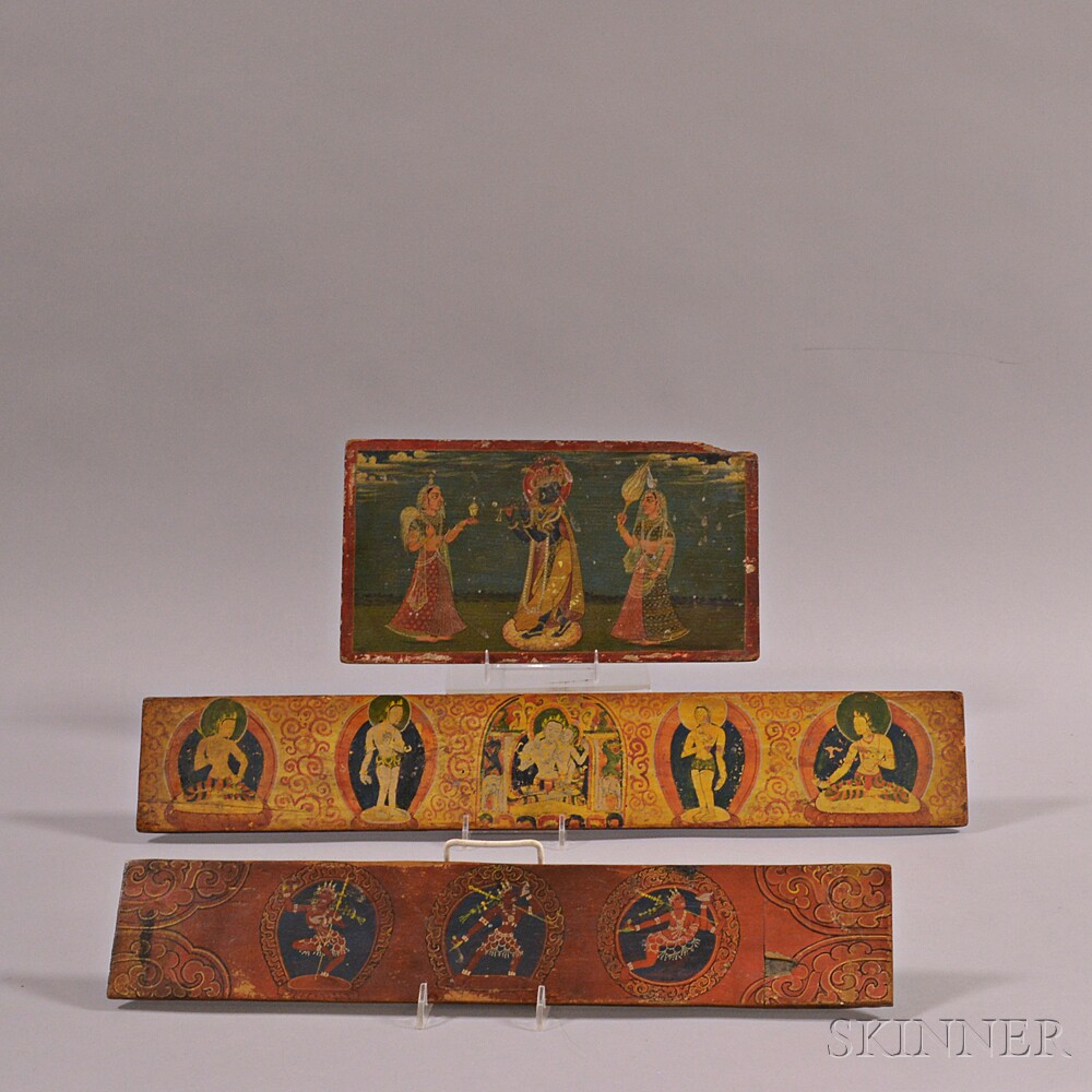 Painted Manuscript Cover and Two Sutra Covers