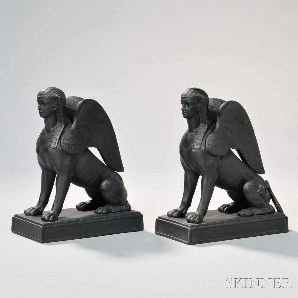 Pair of Wedgwood Black Basalt Sphinx