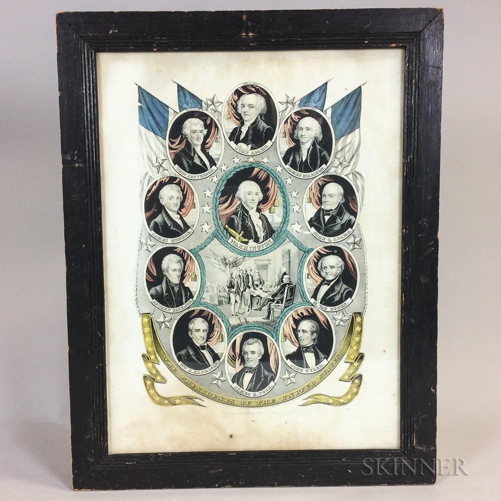 Framed Nathaniel Currier Print The Presidents of the United States