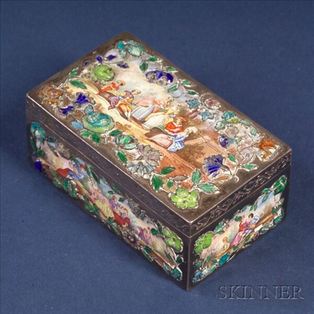 Continental Silver and Enamel Box