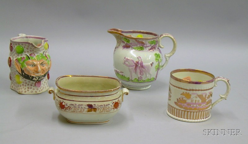 Four Pieces of English Staffordshire Pink Lustre Ware