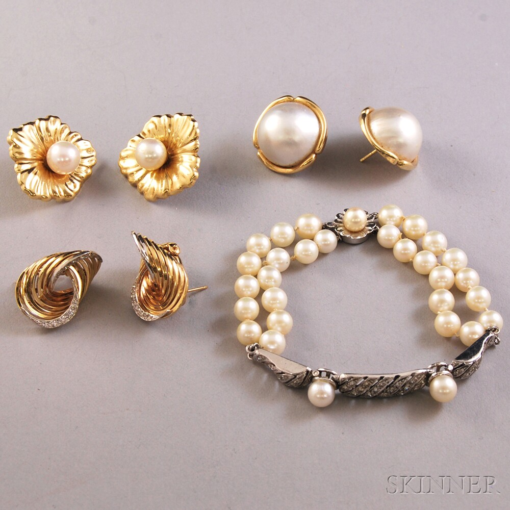 Four Pearl and Gemstone Jewelry Items
