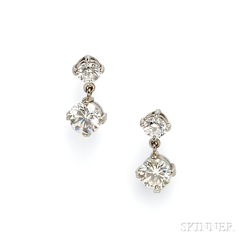 White Gold and Diamond Earpendants