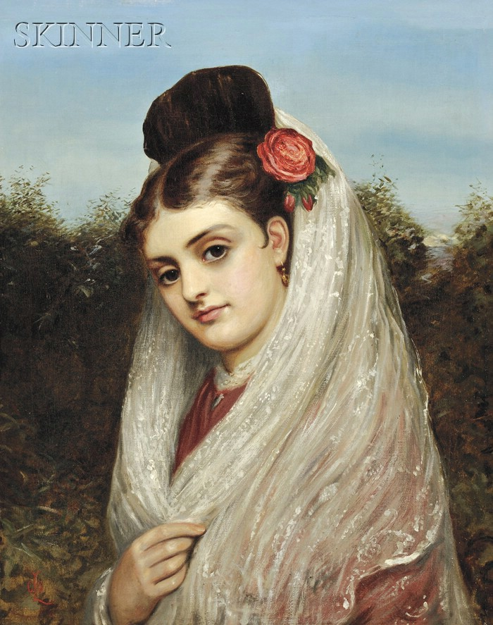 Charles Sillem Lidderdale (British, 1831-1895)      Young Woman in a White Mantilla