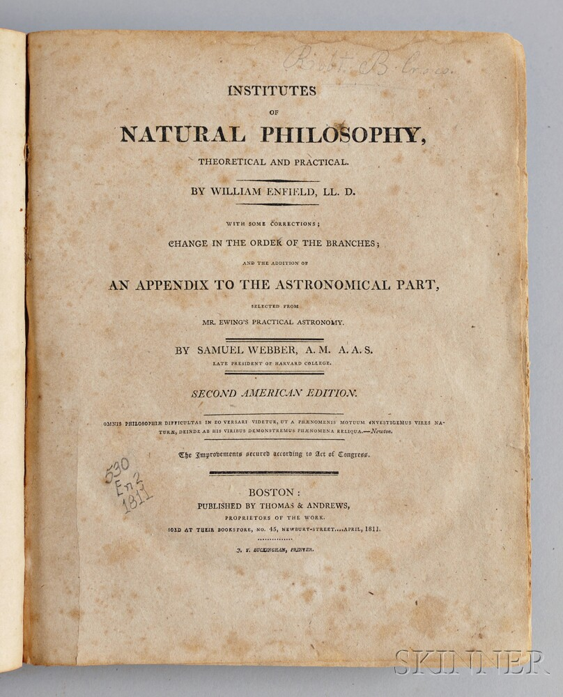 Enfield, William (1741-1797),   Institutes of Natural Philosophy, Theoretical and Practical