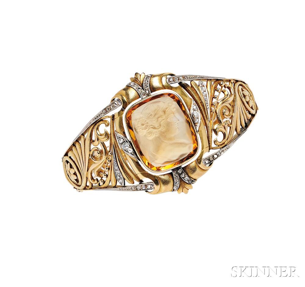 18kt Gold, Citrine Cameo, and Diamond Bracelet