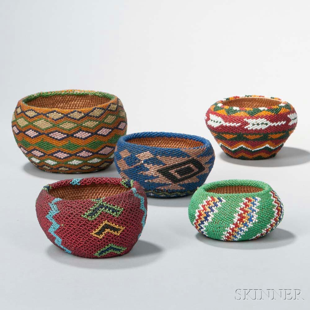 Five Paiute Beaded Baskets